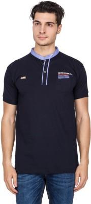 V9 Self Design Men's Polo Neck Blue T-Shirt