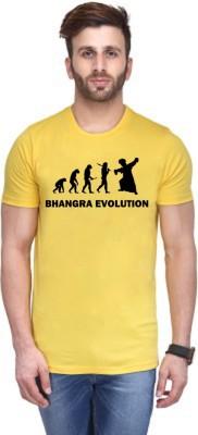 Andshand Printed Men,s Round Neck Yellow T-Shirt