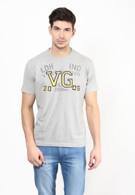 UV&W Solid Men's Round Neck Grey T-Shirt