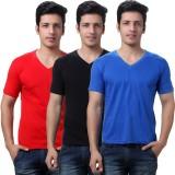 TeeMoods Solid Men's V-neck Red, Blue, B...