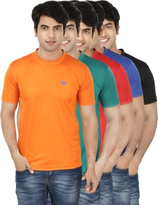 French Circle Solid Men's Round Neck Multicolor T-Shirt