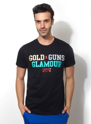 Smugglerz Graphic Print Men's Round Neck Black T-Shirt