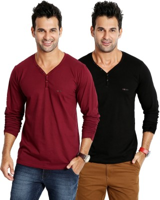 Rodid Solid Men's V-neck Maroon, Black T-Shirt