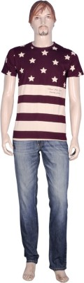 point sevan Printed Men's Round Neck Brown T-Shirt