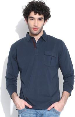 Cult Fiction Solid Men's Polo Dark Blue T-Shirt