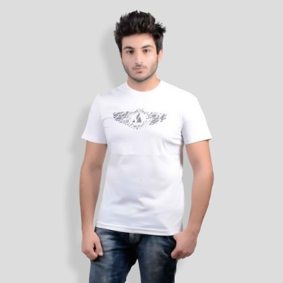 DS WORLD Printed Men's Round Neck White T-Shirt