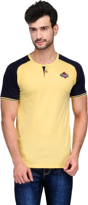 Ausy Solid Men's Round Neck Yellow T-Shirt