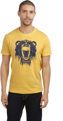 Leo Animal Print Men's Round Neck Yellow T-Shirt