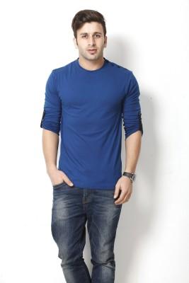 Gritstones Solid Men's Round Neck Dark Blue T-Shirt