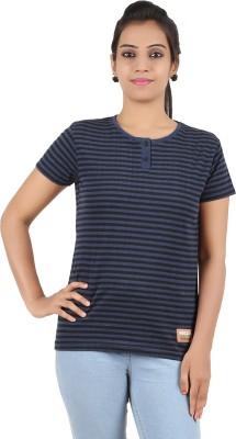 Recca Striped Women,s Round Neck Dark Blue, Black T-Shirt