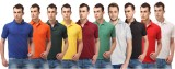 Shoppersstreet Solid Men's Polo Neck Blu...
