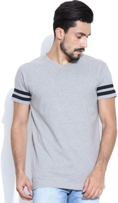 Hubberholme Solid Men's V-neck Grey T-Shirt