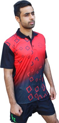 SPINART Self Design Men,s, Women's Flap Collar Neck Black, Red T-Shirt