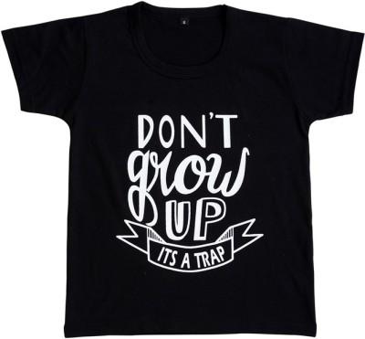 Be 13 Self Design Boy,s Round Neck Black T-Shirt