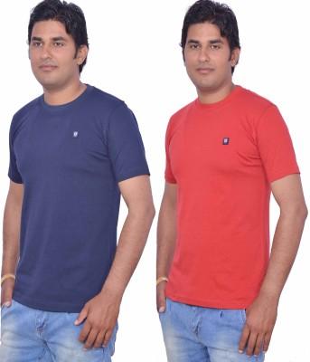 LEAF Solid Men's Round Neck Blue, Red T-Shirt