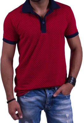 Cotton & Blends Printed Men's Polo Neck T-Shirt