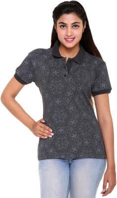 Colors & Blends Printed Women's Polo Neck Grey T-Shirt