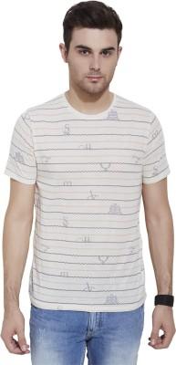 Slub By INMARK Printed Men's Round Neck Beige T-Shirt