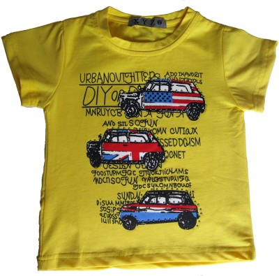OneLook Printed Boy's Round Neck Yellow T-Shirt