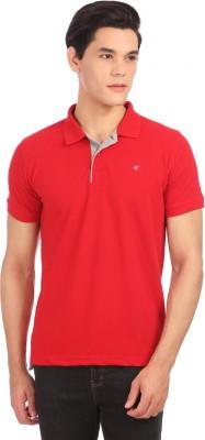 Neva Self Design Men's Polo Neck Red T-Shirt