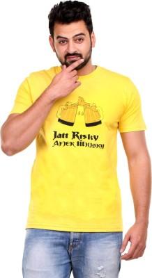Clotone Printed Men's Round Neck Yellow T-Shirt