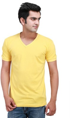 FLAH Solid Men's V-neck Yellow T-Shirt