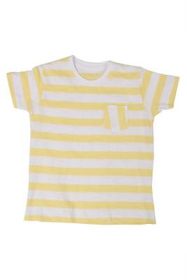 SAIAANSH Checkered Baby Boy's Round Neck Yellow T-Shirt