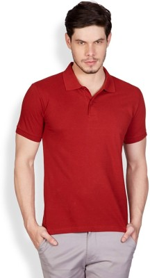 FLAH Solid Men's Polo Neck Red T-Shirt