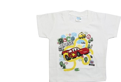 Cheeky Duck Graphic Print Baby Boy's Round Neck White T-Shirt