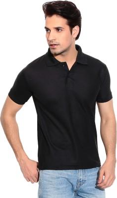 Davie Jones Solid Men's Polo Neck Black T-Shirt