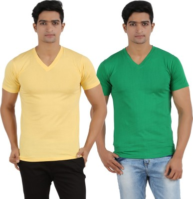 Lyril Solid Men's V-neck Yellow, Dark Green T-Shirt
