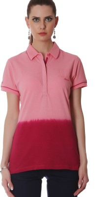 Madame Solid Women's Polo Neck Pink T-Shirt