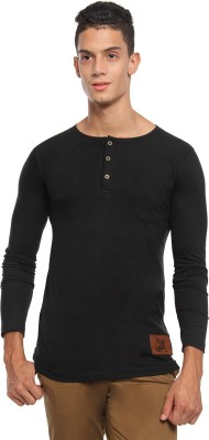 Griffin Sport Solid Men's Henley Black T-Shirt