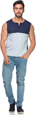 Demokrazy Solid Men's Henley Blue T-Shirt