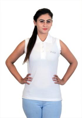 WASP Embellished Women's Polo Neck White T-Shirt