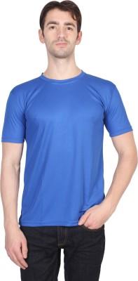 Randier Solid Men's Round Neck Blue T-Shirt