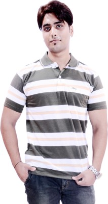 Krazzy Collection Striped Men's Polo Neck Multicolor T-Shirt
