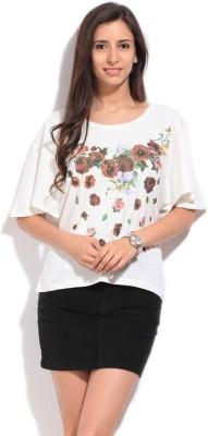 Elle Floral Print Women's Round Neck White T-Shirt