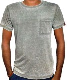 Only White Solid Men's Round Neck Grey T...