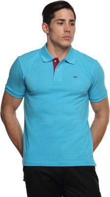 Arrow Sport Solid Men's Polo Neck Blue T-Shirt