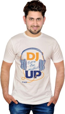 INKIT Graphic Print Men's Round Neck White T-Shirt