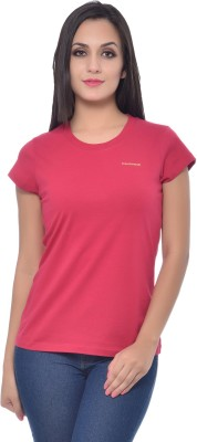 Frenchtrendz Solid Women,s Round Neck Red T-Shirt