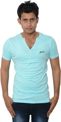 Lampara Solid Men's V-neck Blue T-Shirt