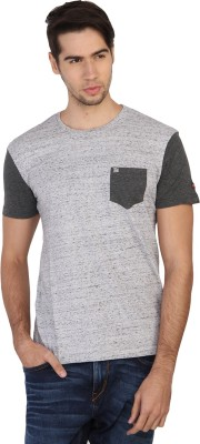 Being Human Solid Men's Round Neck Grey T-Shirt