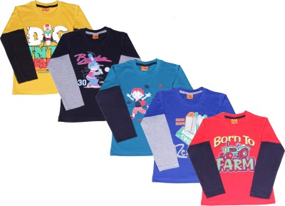 Provalley Printed Boy's Round Neck Multicolor T-Shirt