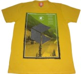 Rayon Printed Men's Round Neck Yellow T-...