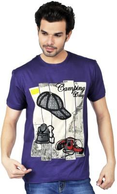 Riot Jeans Graphic Print Men's Round Neck Purple T-Shirt