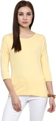 Hypernation Solid Women's Round Neck Yellow T-Shirt