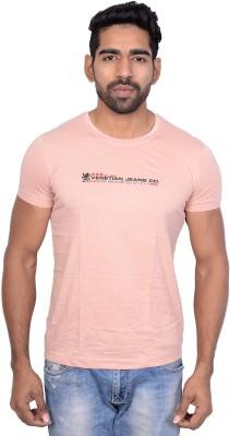 Being Dessi Solid Men's Round Neck Pink T-Shirt