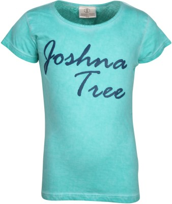 Joshua Tree Printed Girl's Round Neck Green T-Shirt
